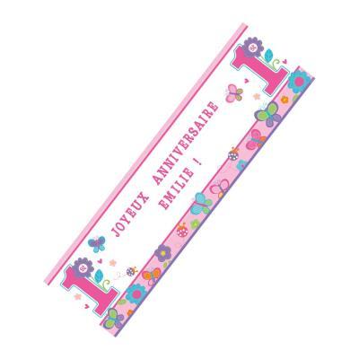 Bannière anniversaire 1 an fille fleurs à personnaliser (1 65 m)