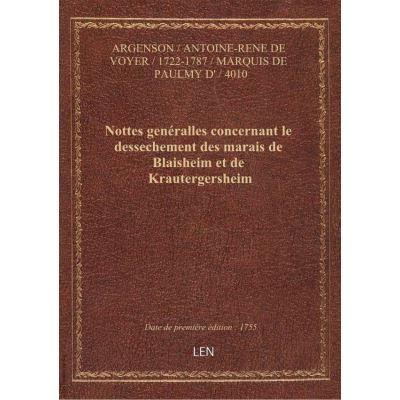 Nottes genéralles concernant le dessechement des marais de Blaisheim et de Krautergersheim