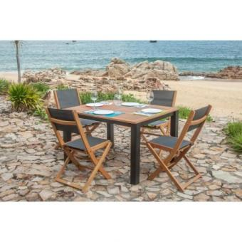 FINLANDEK Ensemble table de jardin rectangulaire + 6 chaises ...