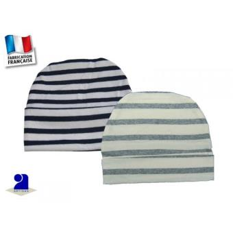Bonnets bébé marin gris et bleu coton du 0 au 24 mois Périmètre crânien -  46 cm 9 mois - Autres cadeaux naissance - Achat   prix   fnac db5cbd6faf7