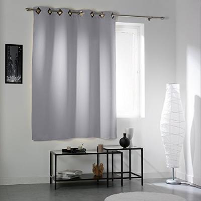Douceur d'interieur 1604867 rideau avec oeillets occultant polyester cocoon gris clair 140 x 180 cm