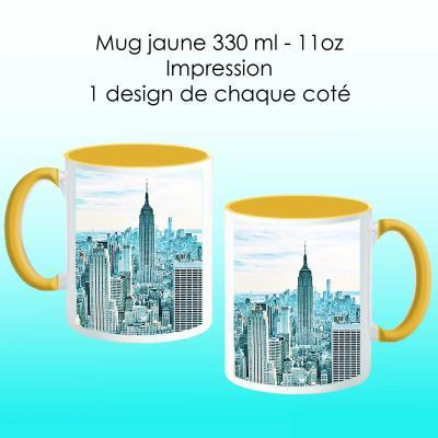 Mug jaune avec design New York bleu