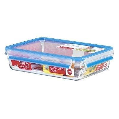 Emsa 513921 clip&close verre boîte alimentaire rectangulaire transparent 2 l