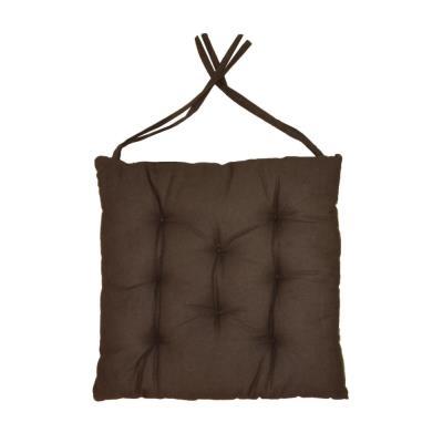 Cotton Wood - Galette de chaise en coton uni 40 cm 8 points Chocolat
