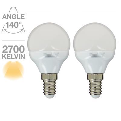 Lot de 2 sphérique P45 470 Lumens E14 5.5W équivalent à 40W