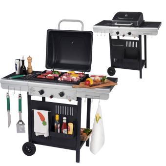 barbecue gaz 2 feux grill et plancha 112x53x94cm wilsa garden achat prix fnac. Black Bedroom Furniture Sets. Home Design Ideas