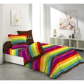 parure 4 pi ces drap housse drap plat 2 taies rayures little marcel achat prix fnac. Black Bedroom Furniture Sets. Home Design Ideas