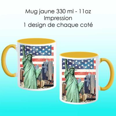 Mug jaune avec design New York-1