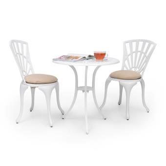 Blumfeldt Valletta Set bistrot table 2 chaises & coussins ...