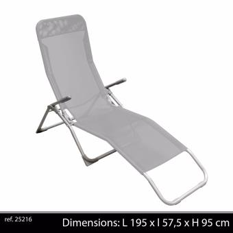 Chaise Longue De Jardin Pliante couleur gris chaise longue basculante pliante avec poignee transat