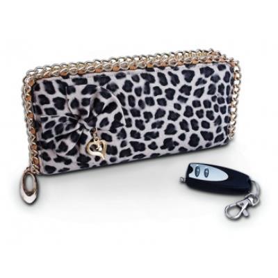 Portefeuille fourrure de léopard, avec caméra 480P pour femme camera espion surveillance mini discrete