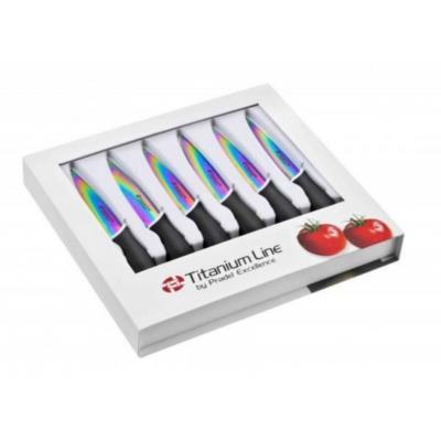 Pradel Excellence CTI006 Coffret 6 Couteaux Steak Acier Inoxydable Multicolore 26 x 24 x 3,4 cm