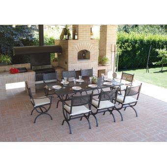Ensemble de jardin table rectangulaire + 8 chaises en fer ...