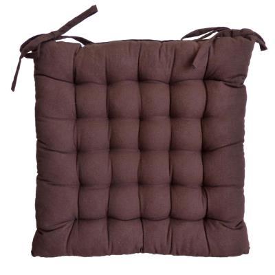 Cotton Wood - Galette de chaise en coton uni 40 cm 25 points Chocolat