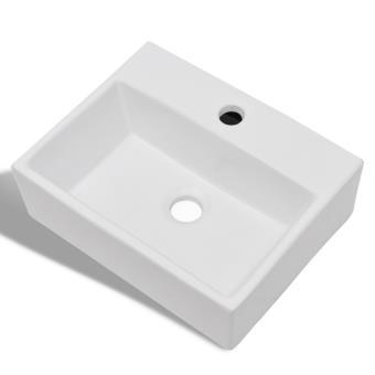 vidaXL Vasque carré  trou pour robinet céramique blanc salle de