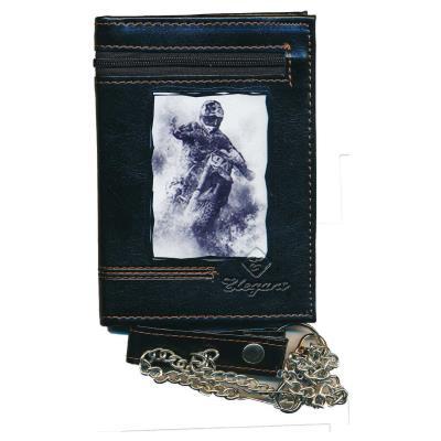 Portefeuille Homme porte monnaie cartes moto avec chaine