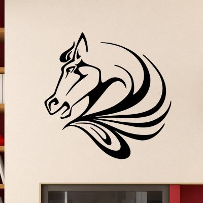 Pick and Stick Sticker Mural Tête de cheval - 35 X 35 cm, Noir