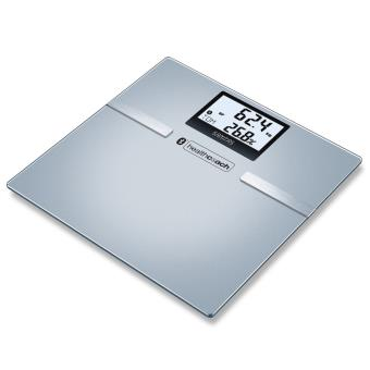 Sanitas Personenweegschaal glas 180 kg zilver SBF 70
