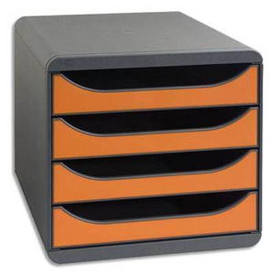 Module de classement 4 tiroirs BigBox Gris/Orange tangerine