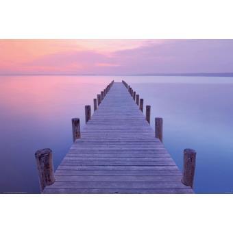 poster ponton sur mer le coucher de soleil poster affiche enroul top prix fnac. Black Bedroom Furniture Sets. Home Design Ideas