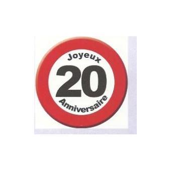Panneau Decoratif Carton 50x50cm Joyeux Anniversaire 20 Ans Objet