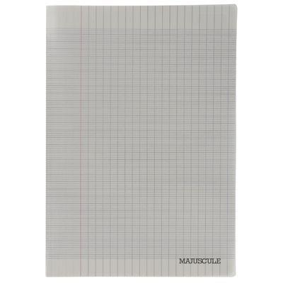Cahier piqûre 96p couverture polypropylène gris A4 grand carreaux 90g