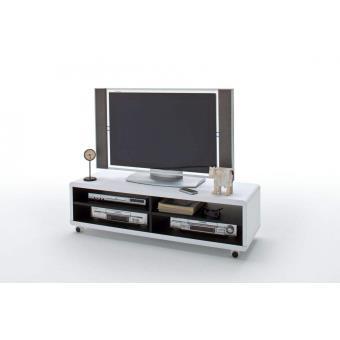 meuble tv roulettes blanc et noir 120 x 35 x 40 cm achat prix soldes fnac - Meuble Tv A Roulettes Noir