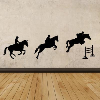 Pick and Stick Sticker Mural Course de chevaux - 55 x 25 cm, Noir