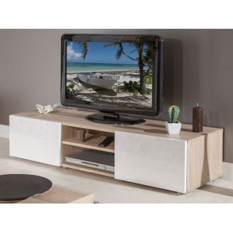 Meuble TV 2 Niches 2 Tiroirs En Bois L140xP42xH31cm GLOSSY   Blanc/Chêne    Achat U0026 Prix | Fnac
