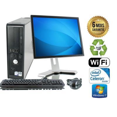 Unite Centrale Dell Optiplex 380 SSF Intel Celeron E3300 2,5Ghz Mémoire Vive RAM 3GO Disque Dur 2 TO Graveur DVD Windows 7 Wifi - Ecran 19(selon arrivage) - Processeur Intel Celeron E3300 2,5Ghz RAM 3GO HDD 1 TO Clavier + Souris Fournis
