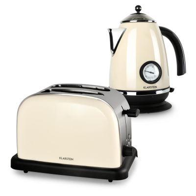 Klarstein Aquavita Set petit-déjeuner rétro : Bouilloire électrique 1,7L 2200W & Grille-pain 2 tranches 100W- crème