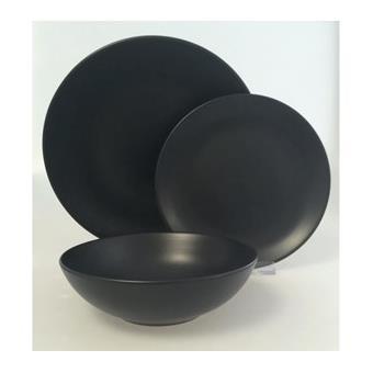 service 18 pieces faience noir mat achat prix fnac. Black Bedroom Furniture Sets. Home Design Ideas
