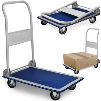 chariot de transport diable platforme pliable 150kg roues en caoutchouc plateau manutention. Black Bedroom Furniture Sets. Home Design Ideas