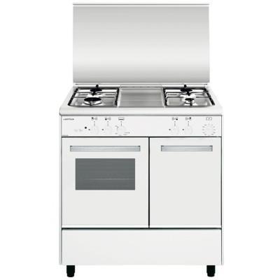 Airlux Alpha AA8PGWH2 - Cuisinière - pose libre - largeur : 80 cm - profondeur : 54.5 cm - hauteur : 90 cm - Blanc/inox