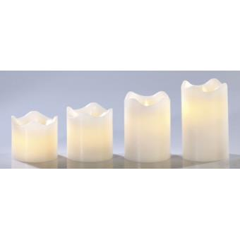 set de 4 bougies led en cire v ritable blanc avec flamme vacillante achat prix fnac. Black Bedroom Furniture Sets. Home Design Ideas