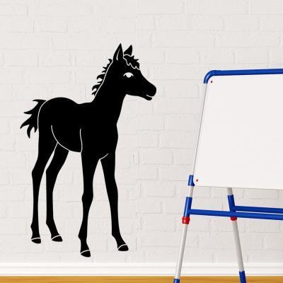 Pick and Stick Sticker Mural Jeune poulain - 85 x 55 cm, Noir