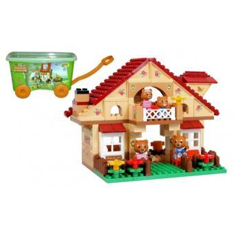 jeu de construction chariot a tirer avec briques assembler maison 98 pi ces l 39 ours. Black Bedroom Furniture Sets. Home Design Ideas