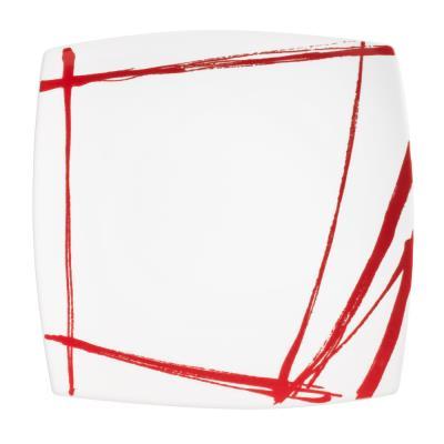 Table Passion - Assiette Plate Carree Rouge 26 Cm Porcelaine Decor Expression ( Lot De 6 )