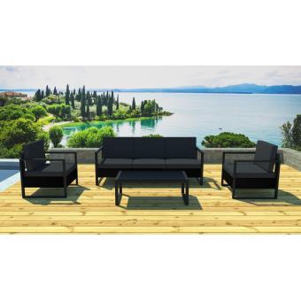 Lynco - Salon de jardin design alu et résine noire Noir/noir ...