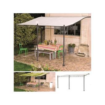 Auvent pergola adoss pour terrasse gm 3 x 4 m avec toile crue mat riel de construction - Toile auvent de terrasse ...