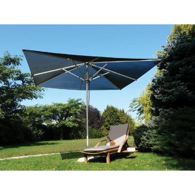 Parasol carré en tissu Batyline, couleur noir - Dim : H 270 x D 300x300/8 balienes - PEGANE -