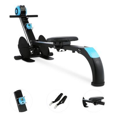 Rameur Appartement Piable Fitness Ecran Entrainement Noir//Bleu Charge 100 kg