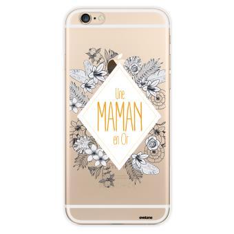 Coque pour iPhone 6 6S rigide transparente Une Maman en or Ecriture Tendance et Design Evetane