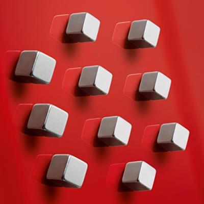 Sigel gl193 lot de 10 aimants cubiques superdym c5 «strong» pour tableaux magnétiques et tableaux magnétiques en verre, 1 x 1 x 1 cm, couleur argent