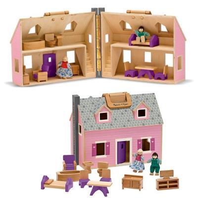 Jouet Maison de poupées en bois à transporter 14 pcs en bois 3 ans +
