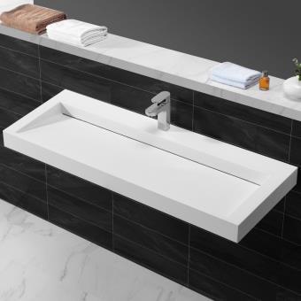Lavabo Urban.Lavabo Suspendu Rectangulaire Blanc Mat 120x45 Cm Composite