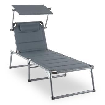 35 sur blumfeldt amalfi noble gray bain de soleil transat 70x37x200 cm gris mobilier de jardin achat prix fnac - Transat Soleil