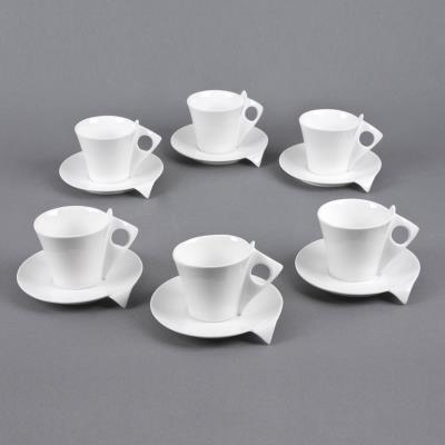Table Passion - Coffret 6 Tasses / Sous Tasses Cafe 10 Libra Porcelaine Blanche