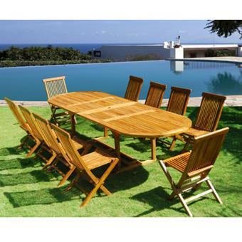 Salon de jardin teck huilé 10/12 pers - GardenAndCo - Table ...