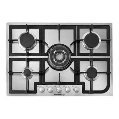 Rosières RTG75SQFRB - Table de cuisson au gaz - 5 plaques de cuisson - largeur : 75 cm - profondeur : 51 cm - blanc